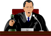 Judge in a courtroom